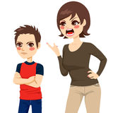 Mother Scolding Son. Illustration of upset young mother scolding teenager angry boy Stock Images