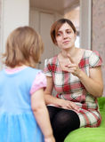 Mother scolds her child Royalty Free Stock Photo