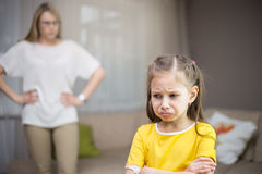 Mother scolds her daughter. Family relationships. royalty free stock image