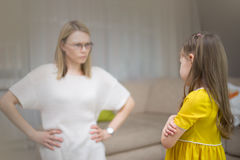 Mother scolds her daughter. Family relationships. The education of the child. royalty free stock images