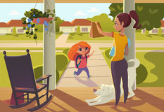 Mother seeing daughter off to school standing on the porch of the house, sends her a snack. Street in the morning. Mother seeing daughter off to school standing royalty free illustration