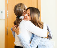 Mother sees off teenage daughter Stock Photography