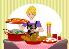 Mother serving dinner. Woman cooking and serving the dinner vector illustration