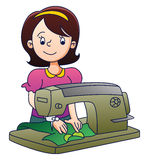 Mother with Sewing Machine Royalty Free Stock Images