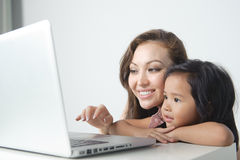 Mother Showing Daugther Stock Images