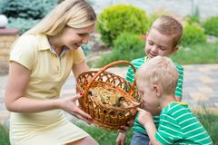 Mother shows children little ducklings in wicker basket. royalty free stock images