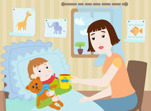 Mother and sick boy. Mother with a cup in a hand sits near the little sick boy who lies in a bed Royalty Free Stock Photos