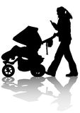 Mother sidecar at walking. Drawing families with children. Silhouettes on a white background Royalty Free Stock Photography