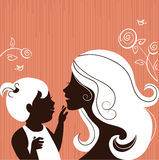 Mother silhouette with baby Royalty Free Stock Images