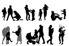 Mother silhouettes Royalty Free Stock Photos