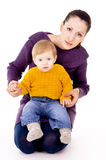 The mother sitting and keep child in your arms Royalty Free Stock Photos