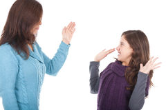 Mother slaping daughter in the face royalty free stock photo