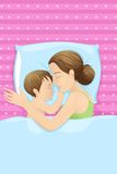 Mother Sleeping with Baby Stock Images