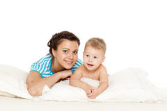 Mother with small baby boy. Stock Images