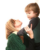 Mother and Small Boy. Mother with preschool boy against white background Stock Photography