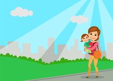 Mother with small daughter on the hands of. Walk in the city park. The cartoon style. Vector illustration vector illustration