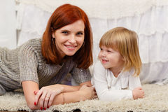 Mother with small daughter. Royalty Free Stock Image