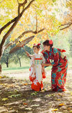 Mother and small daughter in a kimono Stock Images
