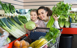 Mother with smiling small daughter buying celery and cabbage. Positive mother with smiling small daughter buying fresh celery and cabbage Royalty Free Stock Photos