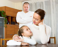 Mother solace to crying daughter Stock Photos