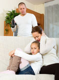 Mother solace to crying daughter Royalty Free Stock Images
