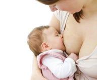 Breastfeeding av en behandla som ett barn Fotografering för Bildbyråer