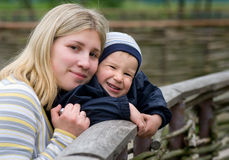Mother And Son. Smile Over Rural Background Stock Image