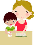 Mother and son. Illustration of mother and son are taking up homework Royalty Free Stock Photography