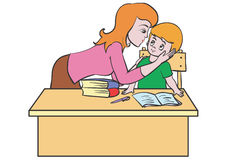 Mother and son. Son made the lessons and my mother praised him Royalty Free Stock Photo