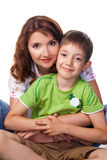 Mother and son. Studio shot royalty free stock image