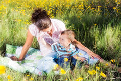 Mother and son. Enjoying an afternoon in nature Royalty Free Stock Image