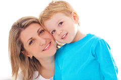 Mother and son. Happy pretty mother with her adorable smiling son Stock Photo