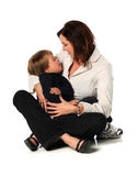 Mother and Son. With Down Syndrome isolated over white background royalty free stock images