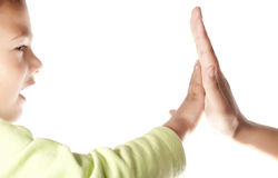 Mother and son. Child and  mother giving a High Five on white background Stock Photos