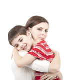 Mother and son. Hugging on white background Royalty Free Stock Photo