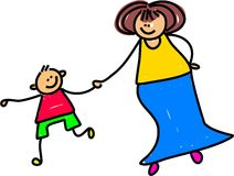 Mother and son. Caucasian mother holding hands with her son - toddler art series Stock Image