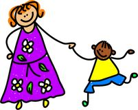 Mother and son. Caucasian mother holding hands with ethnic son - toddler art series stock illustration