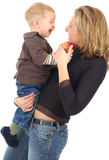 Mother with son. Mother playing with her son. boy 4-6 years Royalty Free Stock Image
