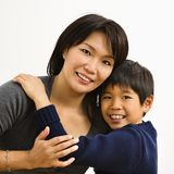 Mother and son. Asian mother and son hugging and smiling Royalty Free Stock Photography