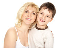 Mother and son. Isolated over white background Royalty Free Stock Photography