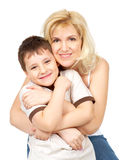 Mother and son. Isolated over white background Stock Image