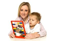 Mother and Son with Abacus Royalty Free Stock Image