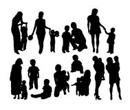 Mother And Son Activity Silhouettes, art vector design Stock Photography