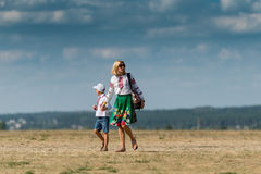 Mother and son on aerodrome  at Ukraine Stock Image