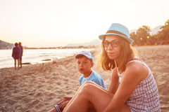 Mother and son at Alanya beach Royalty Free Stock Images