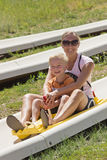 Mother and son on a alpine coaster ride Stock Photography