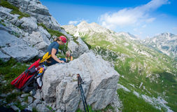 Mother and son in alps Stock Photo