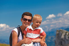Mother and son in the Alps Royalty Free Stock Images
