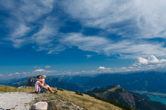 Mother and son in the Alps Stock Image