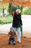 Mother and son in at autumn park Royalty Free Stock Photography